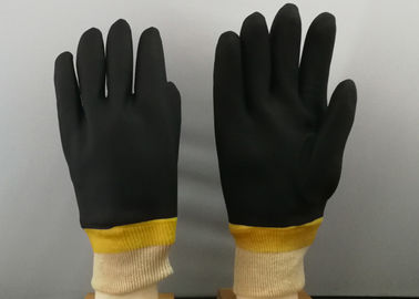 China Black Color PVC Coated Gloves Composite Sponge Flannelette With Knit Wrist Cuff supplier