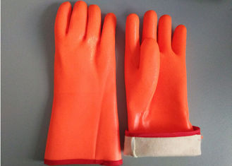 China Fluorescent Double Dipped PVC Gloves 35cm Length With Foam Insulated Liner supplier