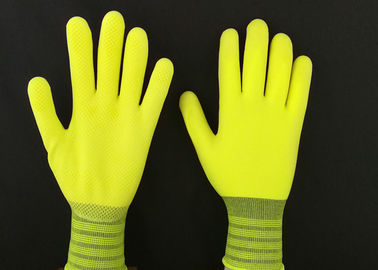 13G Yellow Latex Coated Gloves High Extension Elastic Knitting Customized Size