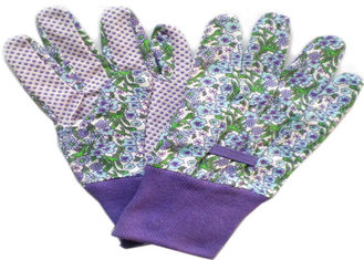 China Purple Printed Working Hands Gloves Polar PVC Dots For Women Gardening supplier