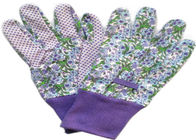 China Purple Printed Working Hands Gloves Polar PVC Dots For Women Gardening factory