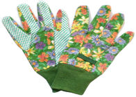 China Cotton Canvas Good Gardening Gloves , Protective Work Gloves With Green Knit Wrist factory