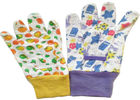 China Cotton Canvas Gardening Gloves With Colourful Knit Wrist & Elastic Line factory
