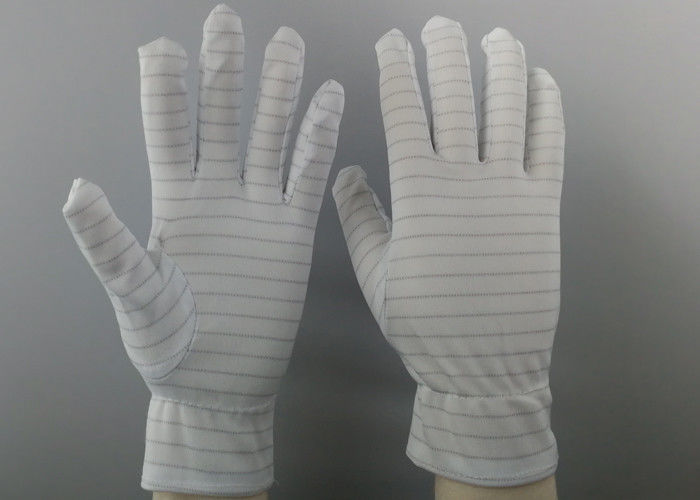 White Color Stripes Anti Static Gloves 100% Polyester Material For