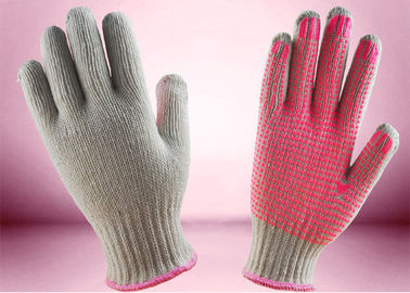 China 7 Gauge PVC Dotted Gloves Pink PVC Dots On Palm Slip Resistance ZS2-015 factory