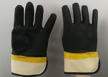Fine Sandy Finish PVC Coated Gloves Handling Abrasive Materials Liquid Proof