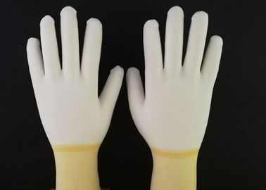 Yellow PU Coated Gloves Hot Melt Binding Edge With 100% Nylon Knitted Liner