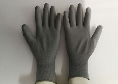 Grey Polyester PU Palm Coated Gloves , Polyurethane Work Gloves Anti Static