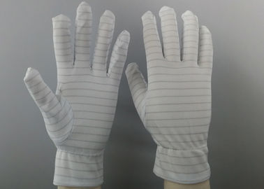 White Color Stripes Anti Static Gloves 100% Polyester Material For Repairing