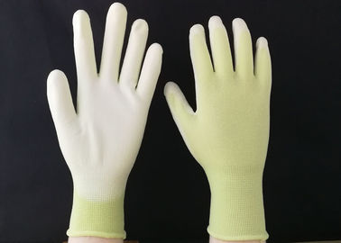 13 Gauge Polyurethane Coated Gloves Green Nylon Seamless Reusable Design