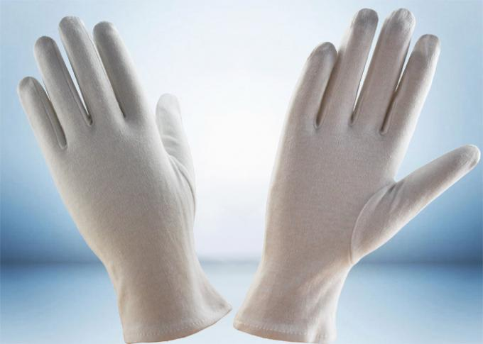 Bleached White Cotton Inspection Gloves , Cotton Glove Liners Hemming Cuff