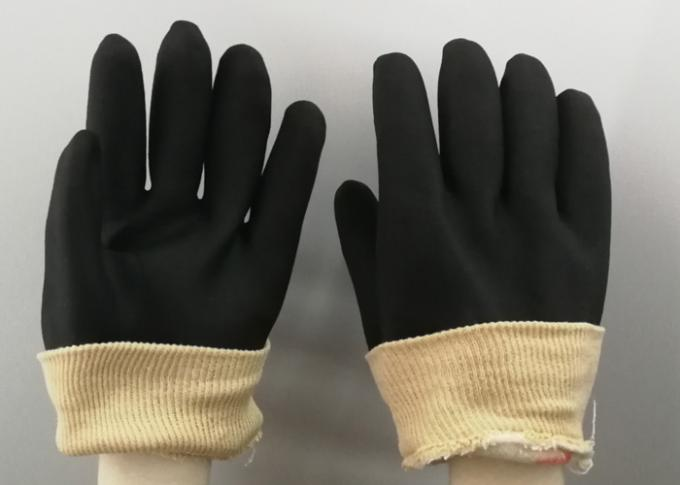 Black Color PVC Coated Gloves Composite Sponge Flannelette With Knit Wrist Cuff