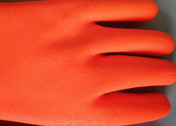 Fluorescent Double Dipped PVC Gloves 35cm Length With Foam Insulated Liner